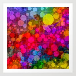 Rainbow Bubbles Abstract Design Art Print