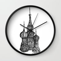 moscow Wall Clocks featuring Moscow by Coop Klassen