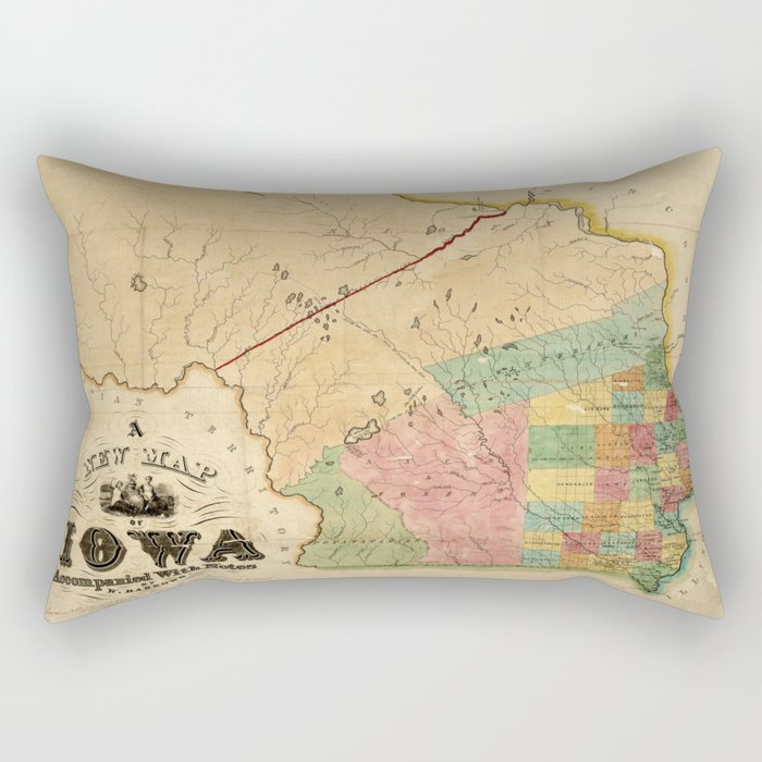 Map of Iowa (1845) Rectangular Pillow