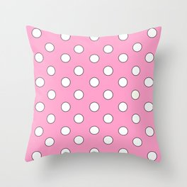 Pink Pastel Polka Dots Throw Pillow