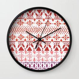 Norwegian Pattern – Reds & Corals Wall Clock