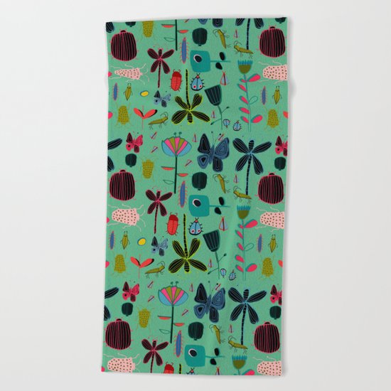 Insect watercolor green Beach Towel