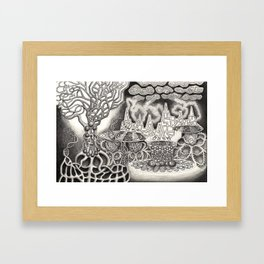 BioTechnological DNA Tree and Abstract Cityscape Framed Art Print