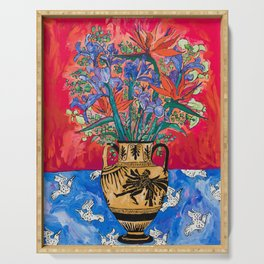 Icarus Floral Still Life Painting with Greek Urn, Irises and Bird of Paradise Flowers Serving Tray