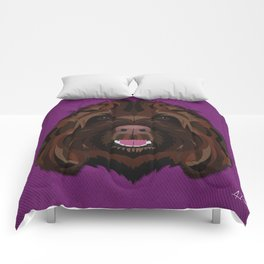 Icons of the Dog Park Labradoodle Design in Bold Colors for Pet Lovers Comforters
