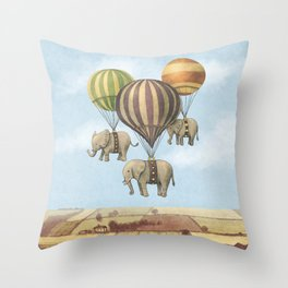 Flight of The Elephants - colour option Throw Pillow