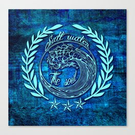 Salt water soothes the soul, big wave icon on blue grunge base.  Canvas Print