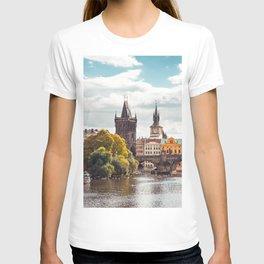 Historic Charles Bridge Vltava River Prague Amazing Cityscape Czech Republic Europe Ultra HD T-shirt