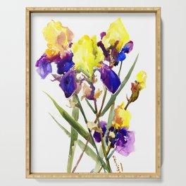 Garden Iris Floral Artwork Yellow Purple Blue Floral design, bright colored floral design Serving Tray