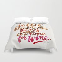 wine Duvet Covers featuring Coffee & Wine – Brown & Magenta Ombré by Cat Coquillette