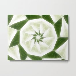 Green White Kaleidoscope Art 9 Metal Print