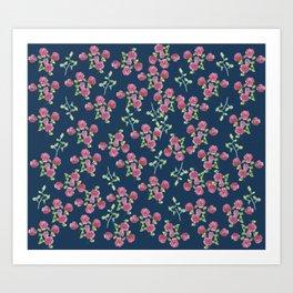Roses on blue Art Print