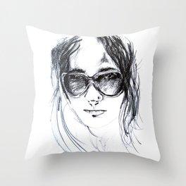 Sunglasses Girl Throw Pillow