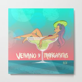 Verano y Margaritas Metal Print