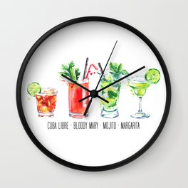 Cuba Libra - Bloody Mary - Mojito - Margarita - Four Cocktails - Watercolour Art - Colourful Print Wall Clock