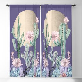 Desert Sun Cactus + Succulents Gold Deep Purple Blackout Curtain