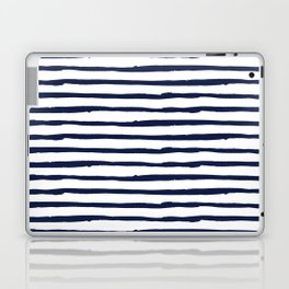 Navy Blue Stripes on White Laptop & iPad Skin