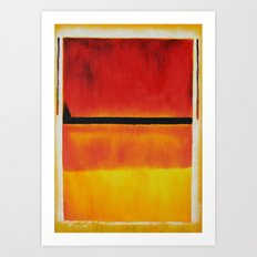 Untitled (Violet, Black, Orange, Yellow on White and Red) Art Print