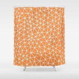 Connectivity - White on Orange Shower Curtain
