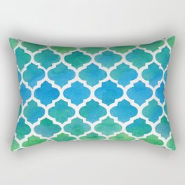 Blue and Green Watercolor Moroccan Pattern Rectangular Pillow