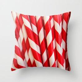 Red Striped Straws Throw Pillow