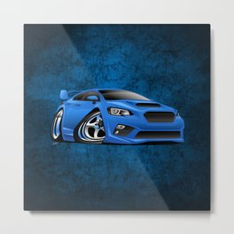 Import Sports Sedan Cartoon Illustration Metal Print