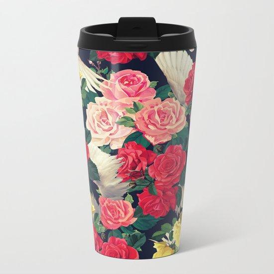 roses wings, tropical  Metal Travel Mug
