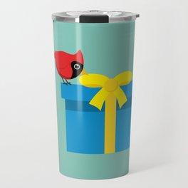 Cute Red Cardinal Opening Blue Gift Travel Mug