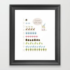 Woodland Counting - Pink Framed Art Print