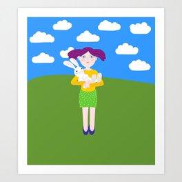 girl with rabbit Art Print