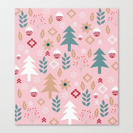 Cute Christmas in pink Canvas Print