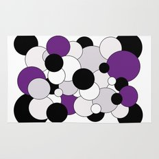 Bubbles - purple, black, gray and white Rug