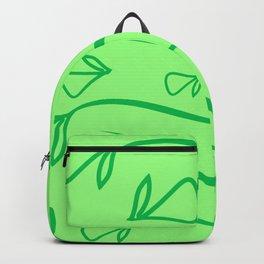 Geometric pattern of vegetative mint elements on a green background. Backpack