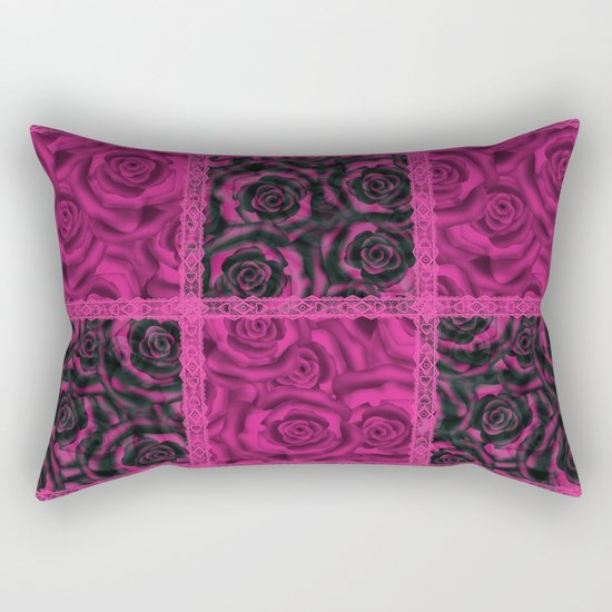 Raspberry patchwork Roses. Rectangular Pillow