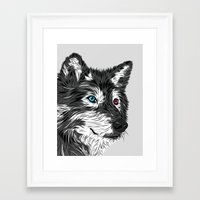gray Framed Art Prints featuring Gray wolf by Roland Banrevi