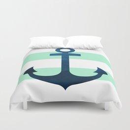 Anchor on Mint Stripes Duvet Cover