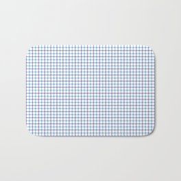 Small Blue & White Large Tattersall Check Pattern Bath Mat