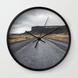 Icelandic Road to Mountains, Landscape Wilderness Adventure Highway Wall Clock