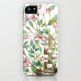 Clematis and Happiness in Marriage Symbol in a Nest iPhone Case
