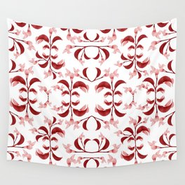 Floral Print Modern Pattern in Red and White Tones Wall Tapestry