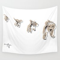 beagle Wall Tapestries featuring Running Beagle by MinnaEleonoora