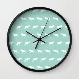 Camper moose pattern minimal nursery basic mint white camping cabin chalet decor Wall Clock