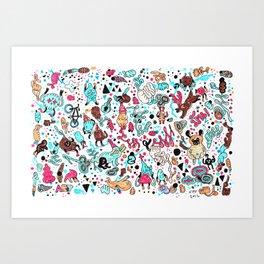 pug in monster land 2 Art Print
