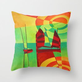 Chinese Junks On Still Waters Throw Pillow