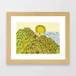 keen for a surf nz surf adventure by surfy birdy Framed Art Print