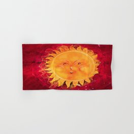 Digital painting of a chubby sun with a funny face Hand & Bath Towel