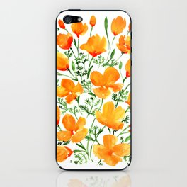 Watercolor California poppies iPhone Skin