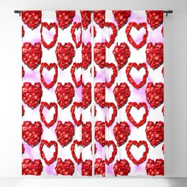 Rose Petal Hearts Polka Dot Pattern on a Pink and White Background Blackout Curtain