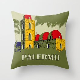 Retro Palermo Sicily hotel travel ad Throw Pillow