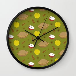 Sweet pattern with apple and cinnamon and pie Wall Clock